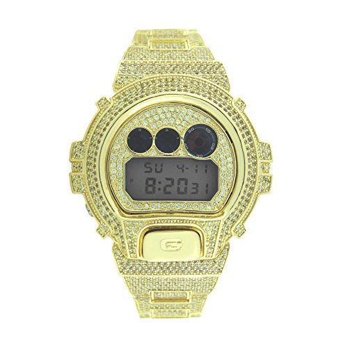 (Custom Designer Iced Out Champagne Lab Diamond Casio Gshock DW6900 Gold ICY Bling Watch)