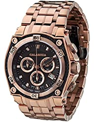 CALABRIA - MEZZANOTTE - Classic Rose Gold Chronograph Mens Watch with Carbon Fiber Bezel