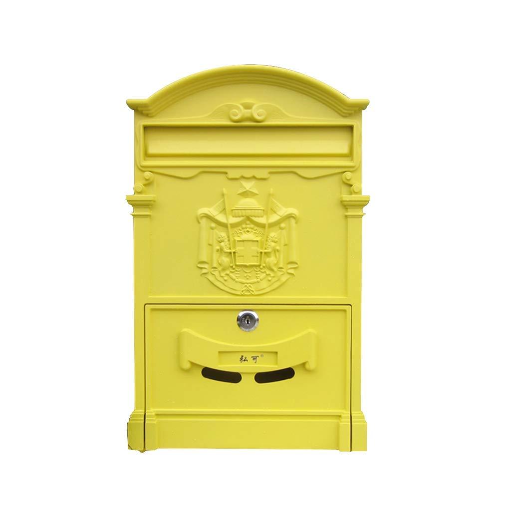 メールボックス、ロック付き屋外用防水レターボックスウォールクリエイティブポストボックスレトロメールボックス(カラー:D)   B07TV2STP7