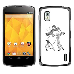 Shell-Star Arte & diseño plástico duro Fundas Cover Cubre Hard Case Cover para LG Google NEXUS 4 / Mako / E960 ( Dance Caricature Man Woman Big Drawing Art )