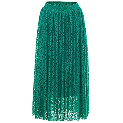 Color : Green, Size : M Nikki Gullion Wholesale Europe and America Slim Elastic Waist Womens Half-Length Dress Big Swing Skirt Lace Skirt