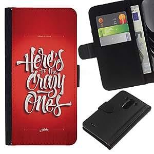 KLONGSHOP // Tirón de la caja Cartera de cuero con ranuras para tarjetas - Los locos Funky rojo impresiones texto fresco - LG G3 //