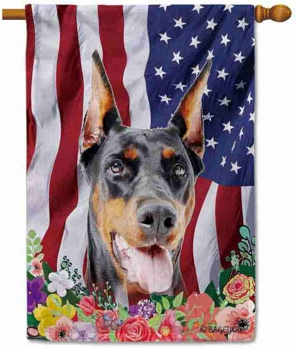 BAGEYOU American Flag with My Love Dog Doberman 4th of July Patriotic Decoraive House Flag for Outside Colorful Flowers Summer Home Decor Banner 28x40 Inch Printed Double Sided