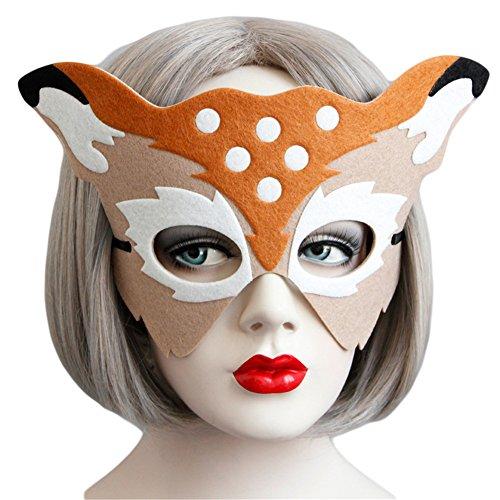 Princess Mononoke Costume Mask (Masquerade Mask Deer Shaped Half Face Mask For Christmas Ball Costume Party)