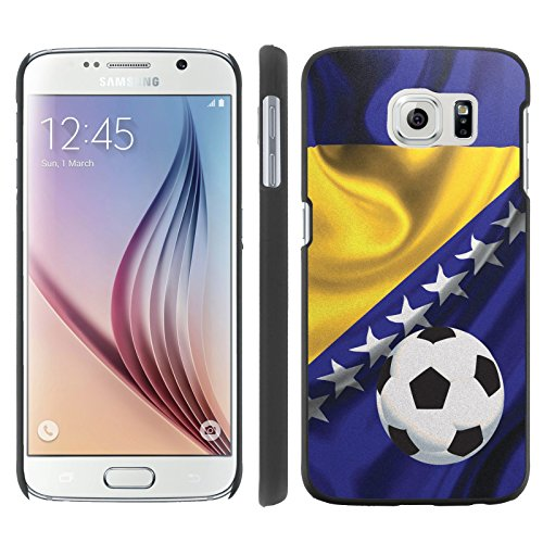 Mobiflare, Slim Clip-on Phone Case, for [Samsung Galaxy S6 G920] - Bosnia And Herzegovina Flag with Soccer Ball