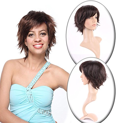 Short Straight Wigs for Women Daily Wear 8 Styles Natural Looking Pixie Cut With Fluffy Hair Tail and Oblique Bangs (Dark Brown) - Pixie Costume Hair