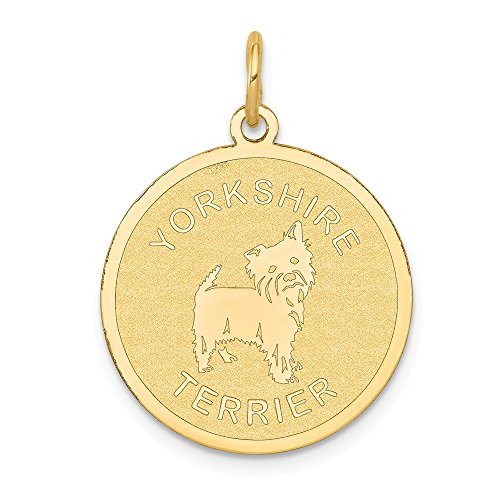14k Yellow Gold Yorkshire Terrier Disc Pendant Charm Necklace Animal Dog Fine Jewelry Gifts For Women For Her - Gold Terrier Dog Charm