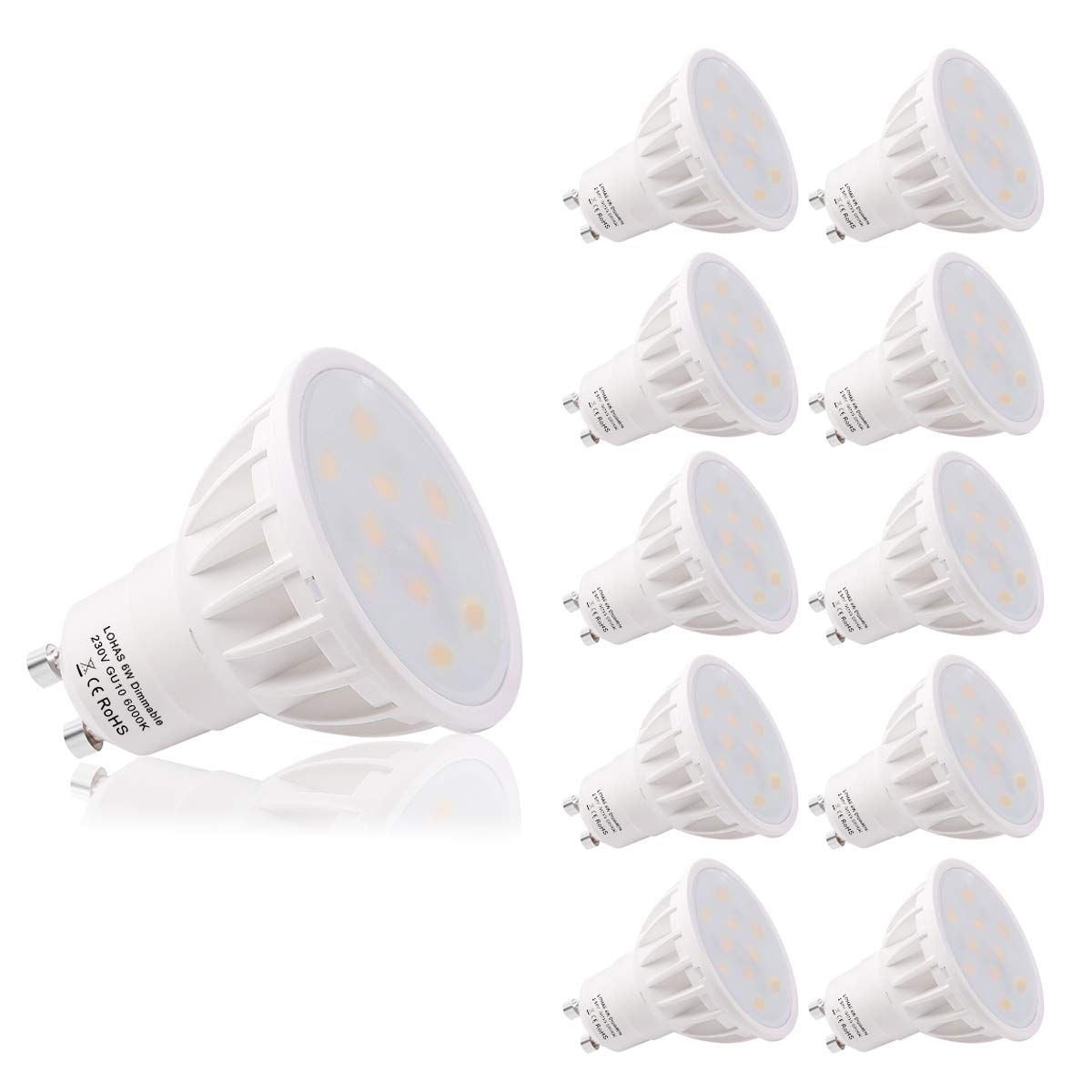 LOHAS GU10 6Watt LED Beautiful 3000K Warm White Colour 50Watt Replacement For Halogen Bulb With New Chip Technology With 1 Year Warranty, Pack of 10 Units, Non Dimmable GK-Lighting