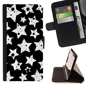 BullDog Case - FOR/Samsung Galaxy S6 / - / stars white art wallpaper stamp night sky /- Monedero de cuero de la PU Llevar cubierta de la caja con el ID Credit Card Slots Flip funda de cuer