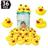 Bucket of 36 Pcs Rubber Duck Bath Toy - Float and Squeak Duckies for Baby Shower, Birthday Party Favors