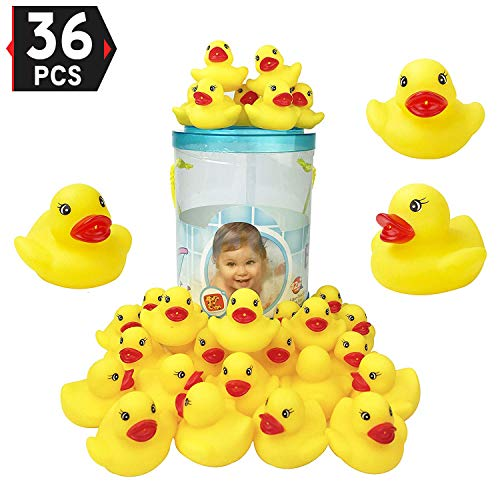 Liberty Imports Bucket of 36 Pcs Classic Rubber Duck Bath Toys - Float and Squirt Duckies for Baby Shower, Birthday Party Favors, Kids Gifts ()