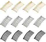 12pcs 7.8cm 20 Teeth Fancy DIY Metal Wire Hair Clip Combs Bridal Wedding Veil Combs Silver Golden Black
