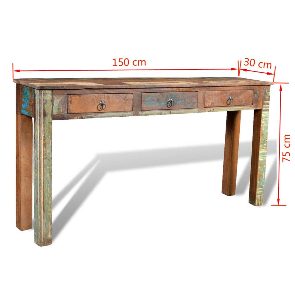 Amazon Com Festnight Rustic Console Table With 3 Storage Drawers