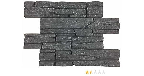 Revestimiento mural en piedra óptica para cocina - terraza - dormitorio - salón | Paneles para paredes mediterráneas de espuma dura | 60cm x 40cm (Acero): ...