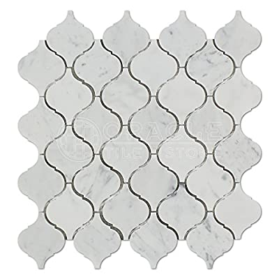 Carrara White Italian (Bianco Carrara) Marble Lantern Arabesque Mosaic Tile by Oracle Tile & Stone