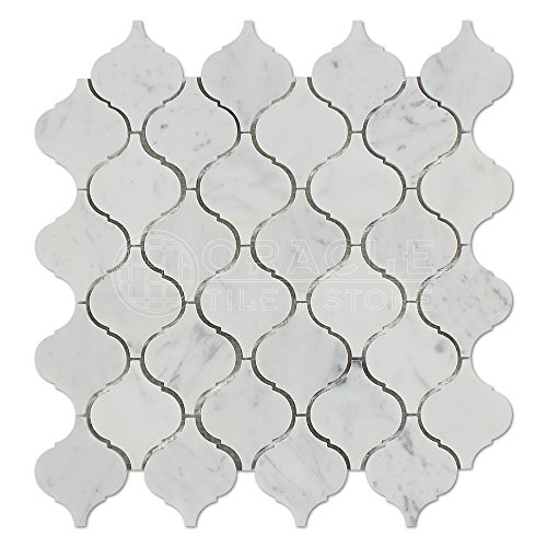 Carrara White Italian (Bianco Carrara) Marble Lantern Arabesque Mosaic Tile, Polished Marble Tile Sheet