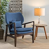 Christopher Knight Home 299444 Haddie Charcoal Fabric Club Chair, Dark Navy