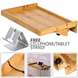 LifeSmart USA LifeSmart Bamboo Lacquered Bed Shelf with Bonus Phone Stand - 14.5 inches by 10.5 inches by 1 inch Shelf - Keep Your Essentials Close