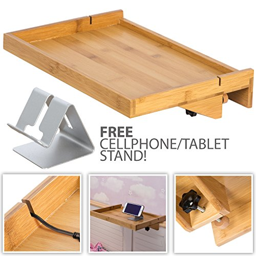 LifeSmart USA LifeSmart Bamboo Lacquered Bed Shelf with Bonus Phone Stand - 14.5 inches by 10.5 inches by 1 inch Shelf - Keep Your Essentials Close (Bedside Tray)