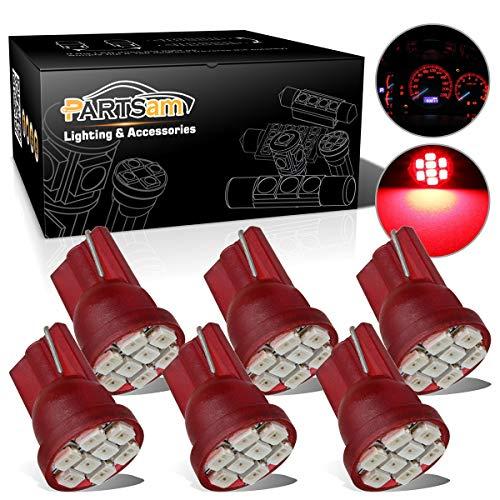 (Partsam T10 194 LED Light bulb 168 LED Bulbs Bright Instrument Panel Gauge Cluster Dashboard LED Light Bulbs Set 6 T10 LED Bulbs – Red)
