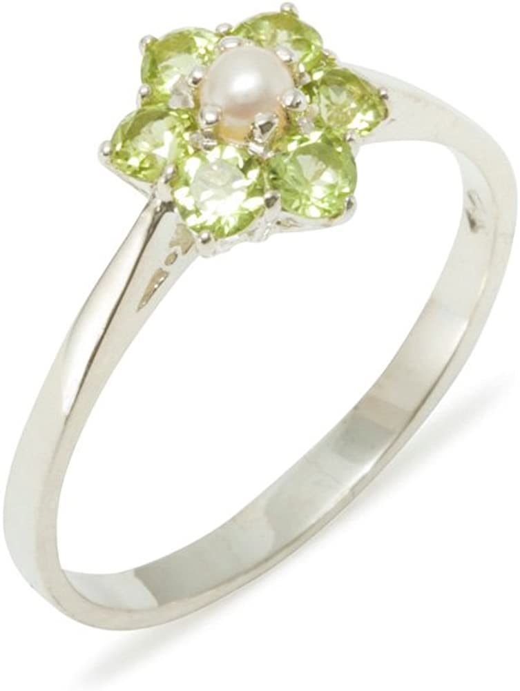 925 Sterling Silver Cultured Pearl & Peridot Womens Cluster Anniversary Ring