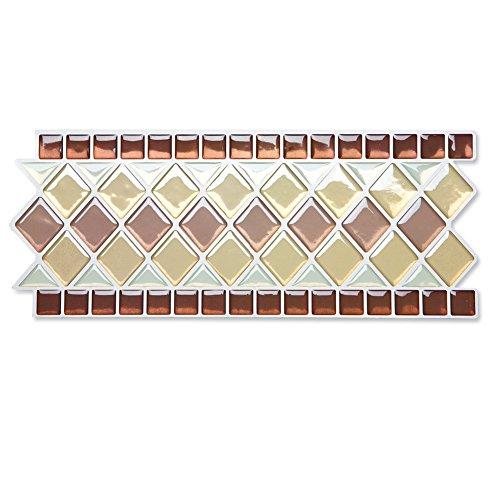 Collections Etc. Tile Borders Peel and Stick Backsplash, Removable Backsplash for Kitchen, Bathroom, Set of 8, Brown Multi