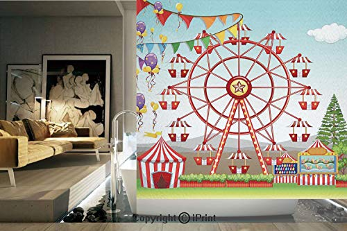 (Ylljy00 Decorative Privacy Window Film/Ferris Wheel at The Amusement Park Illustration Distant Hills Flower Pots/No-Glue Self Static Cling for Home Bedroom Bathroom Kitchen Office Decor)
