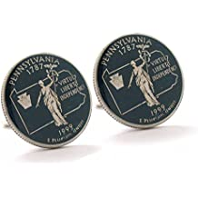 Pennsylvania Cufflinks Suit Flag State Coin Jewelry USA United States America Philly Philadelphia Pittsburgh