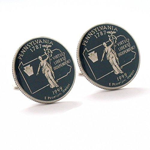 Philadelphia Phillies Cufflinks - Pennsylvania Cufflinks Suit Flag State Coin Jewelry USA United States America Philly Philadelphia Pittsburgh