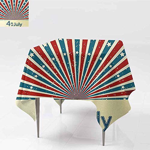 Sunburst Mosaic - DILITECK Washable Table Cloth 4th of July Retro Style Stars and Stripes Sunburst Design Proud Day of American Nation Easy to Clean W60 xL60 Multicolor