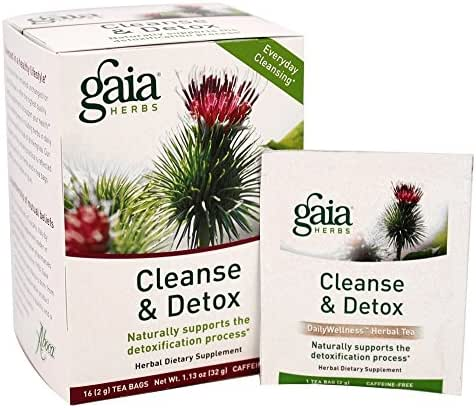Gaia Herbs Cleanse & Detox Herbal Tea, 16 Tea Bags - Everyday Cleansing & Detoxification, Healthy Liver Function