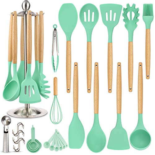Silicone Kitchen Cooking Utensil Set, EAGMAK 16PCS Kitchen Utensils Spatula Set with Stainless Steel Stand for Nonstick Cookware, BPA Free Non Toxic Cooking Utensils, Kitchen Tools Gift (turquoise)
