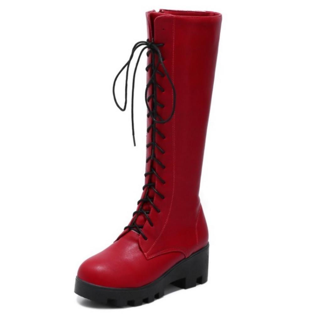 Zanpa Donna Moda Moda Moda Alti Stivali Lace Up Up Lace Inverno Scarpes rosso   cf42d4
