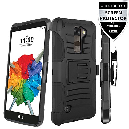 LG Stylo 2 Case,IDEA LINE INC(TM)Heavy Duty Armor Shock Proof Dual Layer Holster Locking Belt Swivel Clip with Kick Stand+Free Stylus Pen+Free HD Screen Protector(Black/Black)
