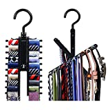 Rotate to Open/Close Upgraded Secure Tie Belt Racks,See Everything Extended Cross X Tie Hanger Organizer,Space Saving Black Non-Slip Clips Holder Hang up to 20 Ties 360 Degree Swivel