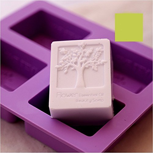 6MILES 2017 Newest Design Purple 4 Cavity Flower Tree DIY Silicone Soap Mold Cupcake Baking Mold Muffin Pan Handmade Art Craft Soap Making Molds Kitchen Tool Set