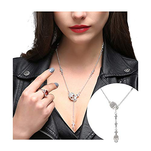 EVBEA Skull Necklace for Women Long Gothic Jewelry Cool Cross Rock Necklaces(46,wt)