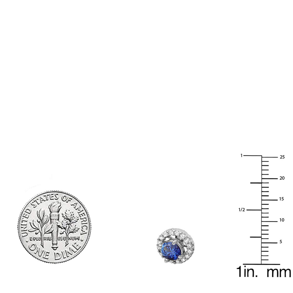 White Gold Dazzlingrock Collection 10K Ladies Halo Round Gemstone Stud Earrings With Removable Jackets