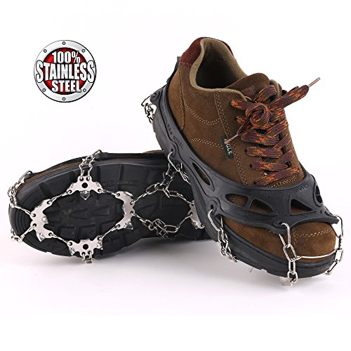 Vinqliq 19 Teeth Claws Micro Spikes Footwear Ice Traction System Crampons Non-Slip Shoes Cover for Walking, Jogging, or Hiking on Snow and Ice (19 Spikes/Black ()