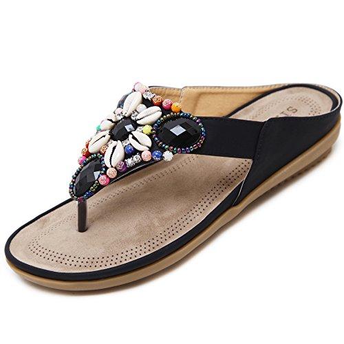 Tira Mujer Aire Planos Playa Cuentas Chanclas Zapatos Bohemia katliu Zapatillas Slippers con Verano Libre Negro Cuero Al de Exterior EwPO0pq