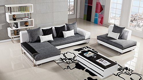 - American Eagle Furniture Portland Collection Contemporary Living Room Fabric Upholstered Sectional Sofa With Left Facing Chaise, Gray/White