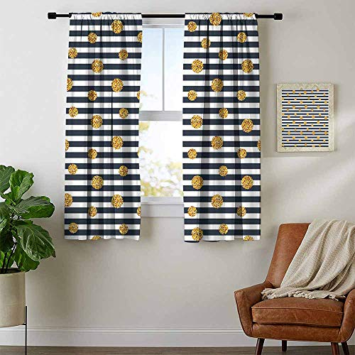 Mozenou Gold and White, Country Curtains Valance, Thin Horizontal Lines with Circles Rounds Vintage Polka Dots, for Living Room, W54 x L39 Inch Navy Blue Yellow White (Dot Circle Valance)