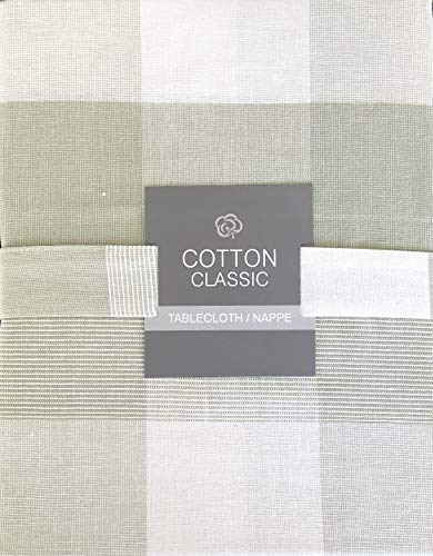 (Cotton Classic Tablecloth Light Sage Green Plaid Wide Stripes Checked Pattern - 60 Inches x 102)