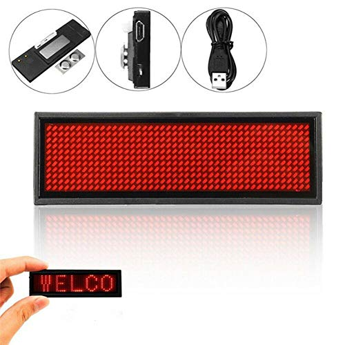 BDSONG LED Name Tag, Business Badge Rechargeable Nametag Card Bluetooth Scrolling LED Sign Display Board for Restaurant Shop Party Bar Exhibition (Mini Led Scrolling Text)