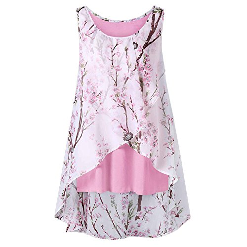 HIRIRI Women's Sleeveless Chiffon Tank Top Double Layers Casual Flowy Tunic Hi-Low Hem T-Shirt Blouse ()