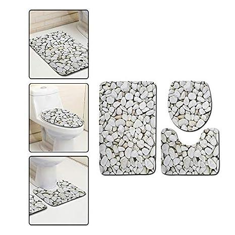Blau Westeng 3-teiliges Set Badematte Kreativ Kieselsteine Muster Rutschfester Badvorleger Schnelltrocknend Badteppich Weich Toiletten Teppich