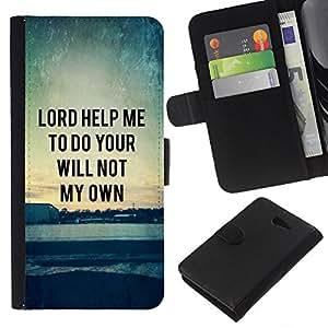 EJOY---La carpeta del tirón la caja de cuero de alta calidad de la PU Caso protector / Sony Xperia M2 / --BIBLIA Señor ayúdame a hacer tu voluntad no la mía