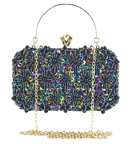 (Selighting Sequin Beaded Clutch Evening Bags for Women Formal Bridal Wedding Clutch Purse Prom Cocktail Party Handbags (One Size, Colorful-Black))