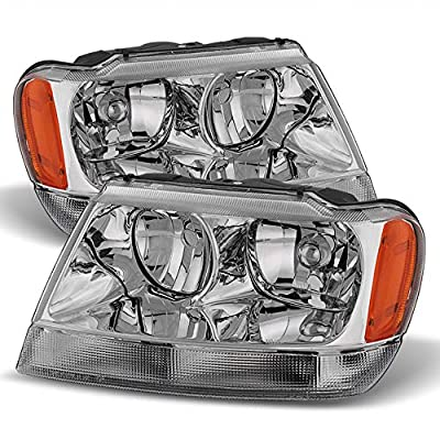 ACANII - For 1999-2004 Jeep Grand Cherokee Chrome Replacement Headlights Headlamps Pair Driver + Passenger Side