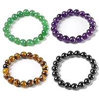 Top Plaza Semi-Precious Gemstones Healing Power Crystal Stretch Beaded Bracelet